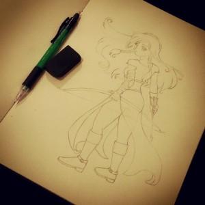 Desenho original, a lápis.