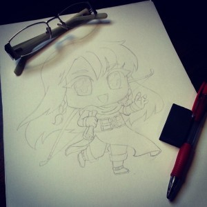 Desenho inicial, a lápis.