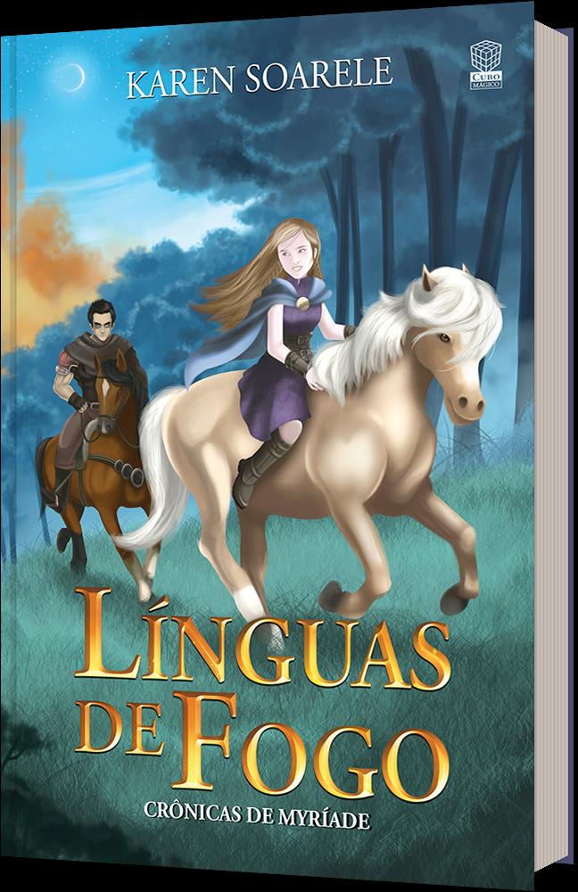 Capa do livro Línguas de Fogo, mostra uma garota de cabelos dourados cavalgando.